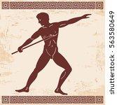 greek style drawing. naked men... | Shutterstock .eps vector #563580649
