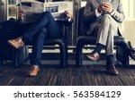 business men break sit read...   Shutterstock . vector #563584129
