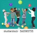 children smiling happiness... | Shutterstock . vector #563585755