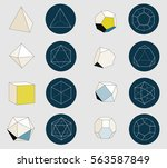 colorful platonic solids on... | Shutterstock .eps vector #563587849