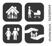 family icons vector set on gray ... | Shutterstock .eps vector #563589049