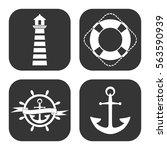 marine icons vector set on gray ... | Shutterstock .eps vector #563590939