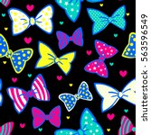 bow and hearts seamless pattern ... | Shutterstock .eps vector #563596549
