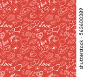 seamless pattern of hearts and... | Shutterstock .eps vector #563600389