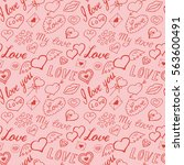 seamless pattern of hearts and... | Shutterstock .eps vector #563600491