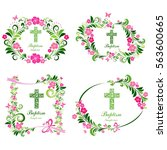 baptism card design with cross. ... | Shutterstock .eps vector #563600665