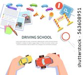 driving school template with... | Shutterstock .eps vector #563608951