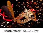 Gold Carnival Mask On Black...