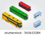 isometric double decker bus ... | Shutterstock . vector #563615284
