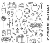 hand drawn collection of... | Shutterstock .eps vector #563615335
