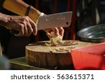 chef use knife for crack the... | Shutterstock . vector #563615371