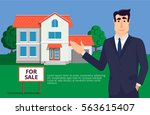 young and handsome real estate... | Shutterstock .eps vector #563615407