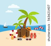summer holidays background on... | Shutterstock .eps vector #563621407