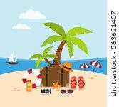 summer holidays background on... | Shutterstock .eps vector #563621407