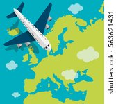 airplane flying on the europe.... | Shutterstock .eps vector #563621431