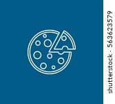 pizza line icon on blue... | Shutterstock .eps vector #563623579