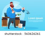 rich business man hold scale... | Shutterstock .eps vector #563626261