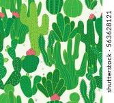 cactus seamless pattern.... | Shutterstock .eps vector #563628121