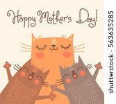sweet card for mothers day with ... | Shutterstock . vector #563635285