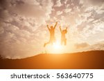 silhouette couple of girls... | Shutterstock . vector #563640775