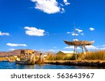boats and floating islands made ...   Shutterstock . vector #563643967