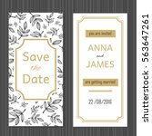 modern wedding invitation with...   Shutterstock .eps vector #563647261