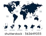 blue world map vector on white... | Shutterstock .eps vector #563649355