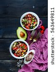 homemade red rice salad with... | Shutterstock . vector #563649811
