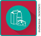 flat icon. milk and cheese.... | Shutterstock .eps vector #563650651