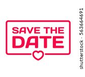 save the date badge with heart... | Shutterstock .eps vector #563664691