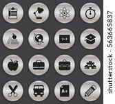 set of 16 editable education... | Shutterstock . vector #563665837