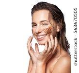 closeup of a woman making a... | Shutterstock . vector #563670505