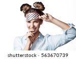 happy girl in mask sleeping... | Shutterstock . vector #563670739