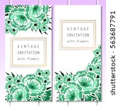 invitation with floral... | Shutterstock .eps vector #563687791
