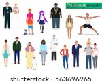 various modern people  detailed ... | Shutterstock .eps vector #563696965