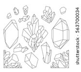 cute graphic crystals drawn in... | Shutterstock .eps vector #563700034