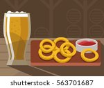 beer with fried onion rings