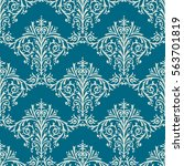 damask seamless floral pattern... | Shutterstock . vector #563701819