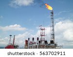 gas or flare burn on offshore... | Shutterstock . vector #563702911