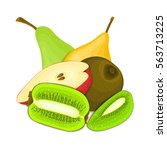 composition of juicy pear and... | Shutterstock .eps vector #563713225