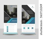 blue black roll up business...   Shutterstock .eps vector #563713249