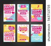 template design happy valentine'... | Shutterstock .eps vector #563713735