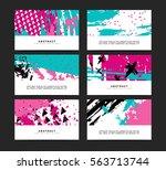 set of horizontal artistic... | Shutterstock .eps vector #563713744