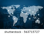 global business connection... | Shutterstock . vector #563715727