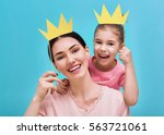 funny family on a background of ... | Shutterstock . vector #563721061