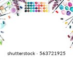 artist workspace. watercolor... | Shutterstock . vector #563721925