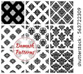 damask flourish patterns set.... | Shutterstock .eps vector #563722309