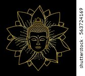 gold buddha head and lotus... | Shutterstock .eps vector #563724169