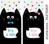 black cat family couple with... | Shutterstock .eps vector #563730829