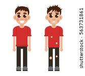 rich and poor children | Shutterstock .eps vector #563731861